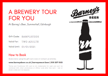 Barney's Edinburgh Brewery Tour Gift Card